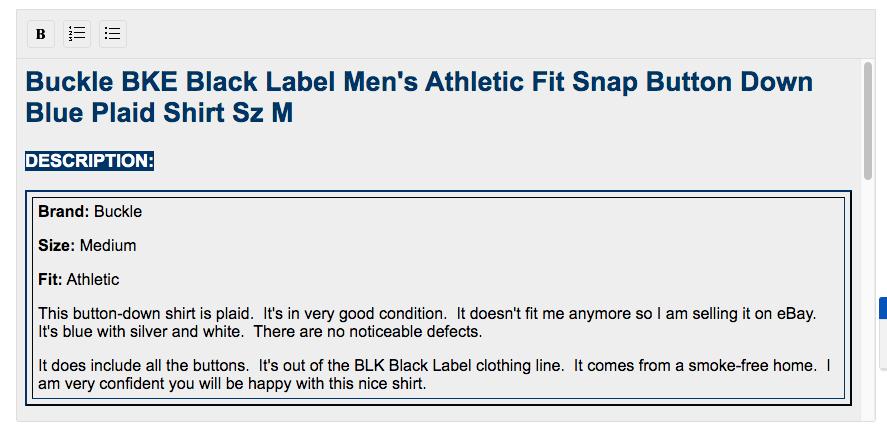 eBay Product Description